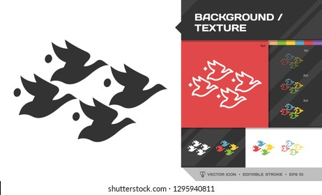 Textures and backgrounds icon black glyph silhouette and editable stroke thin outline single with bird and fish seamless pattern sign in Escher style.