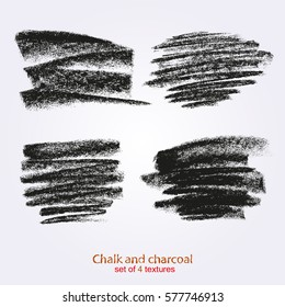 Textures of chalk and charcoal. Vector brush strokes. High resolution brushes. Expressive grunge template.  Designed for registration of various design projects: posters, banners, stickers.