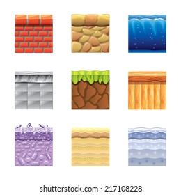Textures for platformers icons photo-realistic vector set