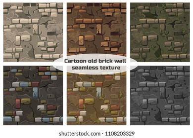 Textures set. Cartoon collection seamless pattern texture old crack brick wall, vector background