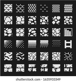 Textures tile abstract pattern set for pixel art style game, brick wall or stone. Isolated vector illustration. 1-bit. Design for stickers, logo, web, mobile app.
