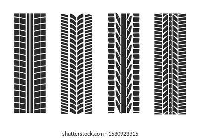 Textures of tire tracks set with different tread patterns on white background. Isolated vector illustration