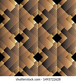 Texured dark brown 3d geometric seamless pattern. Vector ornamental grunge background. Surface abstract backdrop. Zigzag lines, stripes, geometrical shapes, squares, rhombus. Modern grungy ornament.