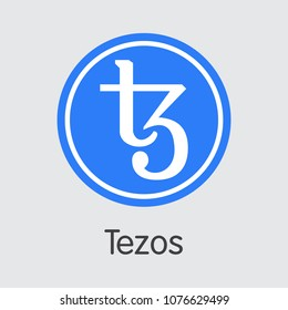Tezos - Virtual Currency Coin Image. Vector Web Icon of Digital Currency Icon on Grey Background. Vector Pictogram XTZ.