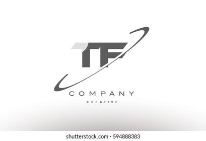 tf grey swoosh white alphabet company logo line design vector icon template t f