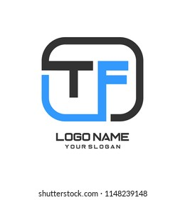 TF initial box letter logo template vector