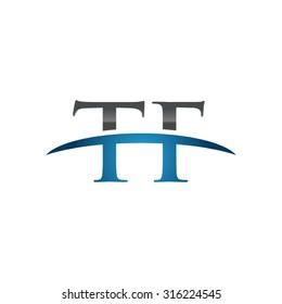 TF initial company blue swoosh logo