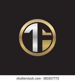 TF initial letters circle elegant logo golden silver black background