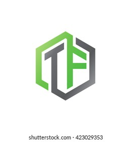 TF initial letters looping linked hexagon logo black gray green