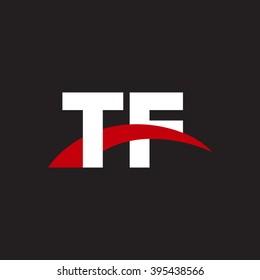 TF initial overlapping swoosh letter logo white red black background