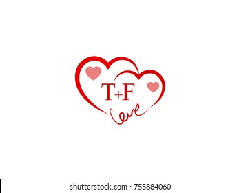 TF Initial wedding invitation, love logo template vector