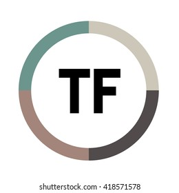 TF letters, four colors in abstract background logo, design identity in circle, alphabet letter
