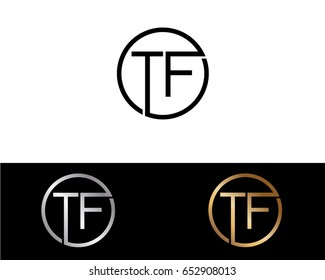 Tf Logo. Letter Design Vector with Red and Black Gold Silver Colors