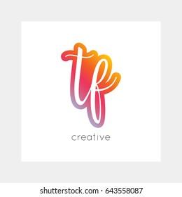 TF logo, vector. Useful as branding, app icon, alphabet combination, clip-art.