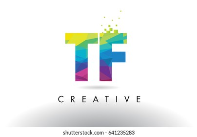 TF T F Colorful Letter Design with Creative Origami Triangles Rainbow Vector.