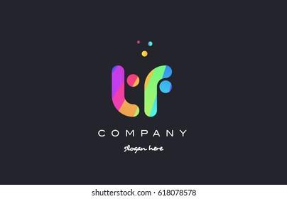 tf t f  creative rainbow green orange blue purple magenta pink artistic alphabet company letter logo design vector icon template