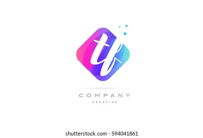 tf t f  pink blue rhombus abstract 3d alphabet company letter text logo hand writting written design vector icon template