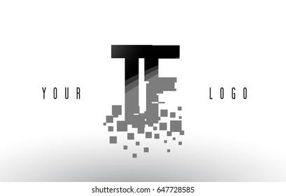 TF T F Pixel Letter Logo with Digital Shattered Black Squares. Creative Letters Vector Illustration.