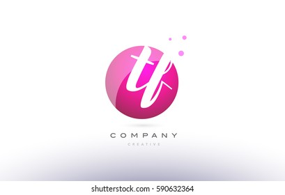 tf t f  sphere pink 3d alphabet company letter combination logo hand writting written design vector icon template