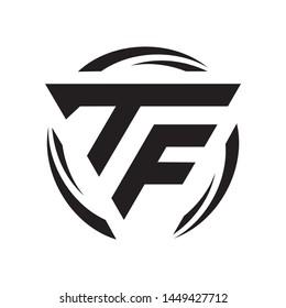 TF triangle initial monogram simple modern cool logo