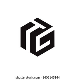 tg, gt, tc, logo with Pentagon style and black color, strong visual vector