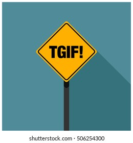 TGIF! Thank God It's Friday! Road Sign (Line Art Vector Illustration in Flat Style Design)