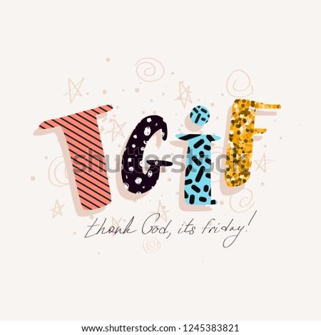 Tgif Vector Card Cute Funny Thank Stock Vector Royalty Free