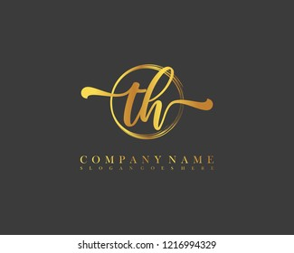 TH initial handwriting logo circle template vector