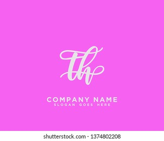 TH Initial Handwriting Logo Vector