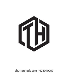 TH initial letters looping linked hexagon monogram logo