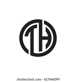 TH initial letters looping linked circle monogram logo