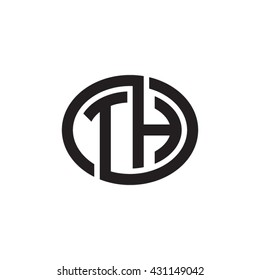 TH initial letters looping linked ellipse monogram logo