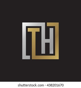TH initial letters looping linked square elegant logo golden silver black background