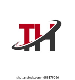 TH initial logo company name colored red and black swoosh design, isolated on white background. vector logo for business and company identity.