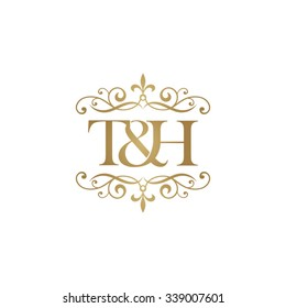 T&H Initial logo. Ornament ampersand monogram golden logo