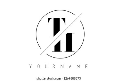 TH Letter Logo with Cutted and Intersected Design and Round Frame Vector Illustration