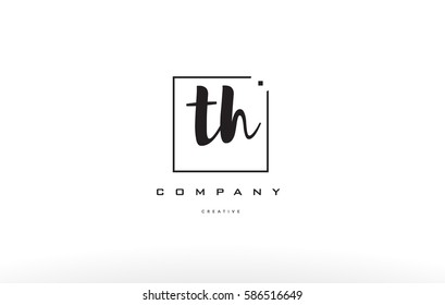 th t h hand writing written black white alphabet company letter logo square background small lowercase design creative vector icon template th t h