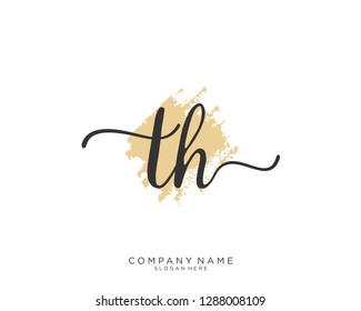 TH T H Initial handwriting logo template