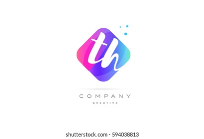 th t h  pink blue rhombus abstract 3d alphabet company letter text logo hand writting written design vector icon template