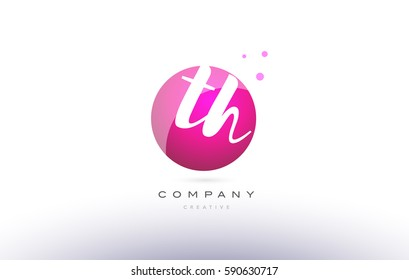 th t h  sphere pink 3d alphabet company letter combination logo hand writting written design vector icon template