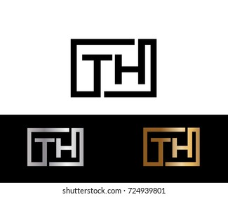 TH text gold black silver modern creative alphabet letter logo design vector icon