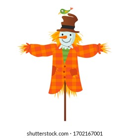 Tha scarecrow character with the bird on a hat. Flat design vector illustration. Kids concept