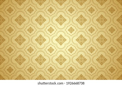 Thai art and asian style luxury banner gold background pattern decoration for printing, flyers, poster, web, banner, brochure and card concept vector illustration