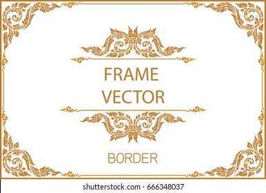 Thai Art, Gold border frame with thailand line floral for picture, Vector design decoration pattern style.frame corner design is pattern