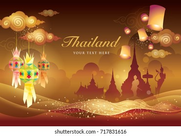 Thai art graphic vector, Thai Tradition background.