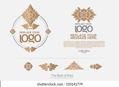 thai art  Insignias or Logotypes set. Vector design elements, business signs, logos, identity, labels, badges and objects.
