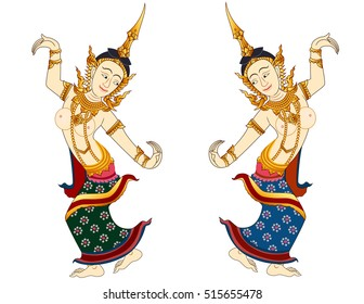 thai art lady dancing graphic vector