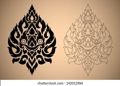 Thai Art Modern Design New Style Lion Face Vector Illustration Black Color and Out Line