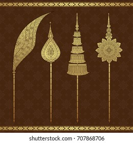 thai art, temple, background pattern, vector illustration