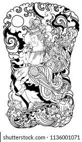 Thai art traditional tattoo design.Beautiful thai lady with wing and water wave on cloud and moon background.Thai fairy tail with flower sitdown on rock and ocean tattoo.